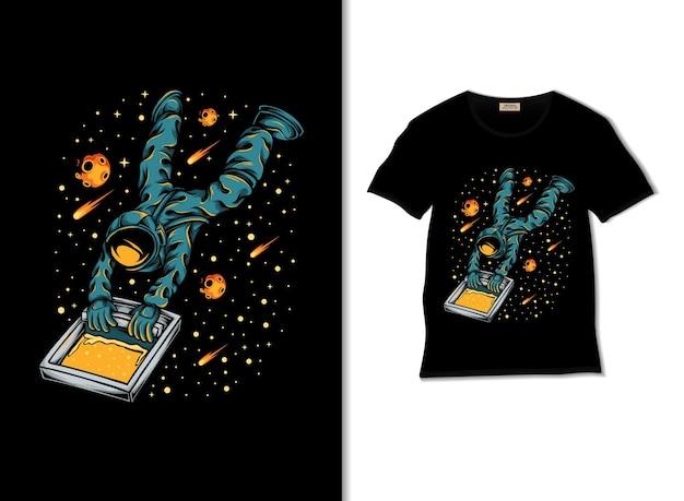 Sérigraphie d'astronautes dans l'illustration de l'espace avec un design de t-shirt