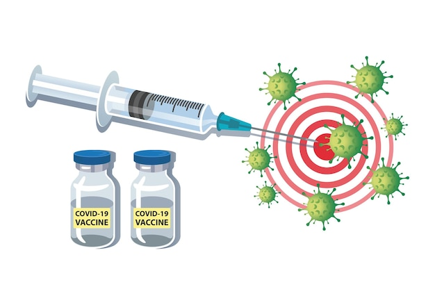 Seringue injectant le virus covid19 avec illustration vectorielle de vaccin