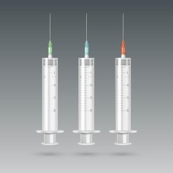 Seringue médicale en plastique vecteur isolé sur
