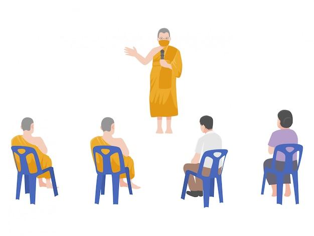 Sermon, personnes écoutant le dharma, les moines enseignent et parlent, distanciation sociale