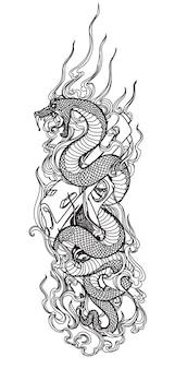Serpent d'art de tatouage et dessin de main d'arme à feu et croquis noir et blanc