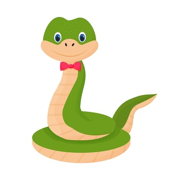 Serpent de caractère joyeux mignon souriant en style cartoon
