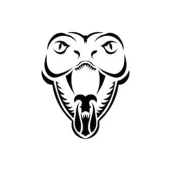 Serpent cobra face icône illustration noire. l'emblème avec le cobra royal pour une équipe sportive. conception d'impression pour t-shirt.