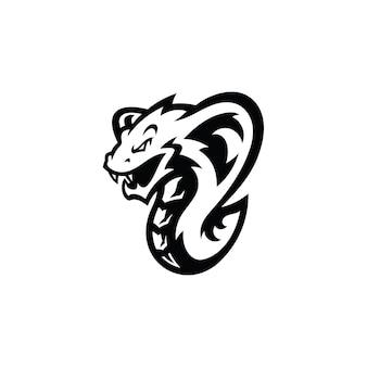 Serpent cobra serpent mascotte illustration en couleur noire