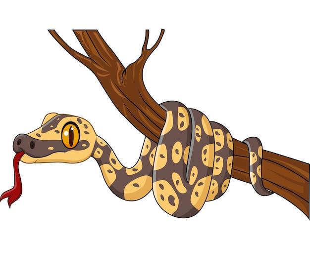 Serpent de dessin animé sur une branche d'arbre