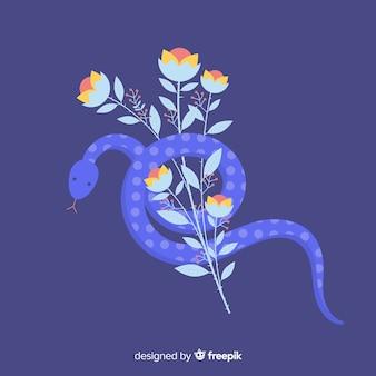 Serpent dessiné à la main blessé sur fond de bouquet