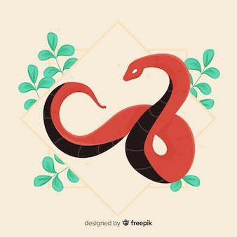 Serpent dessiné à la main avec des feuilles
