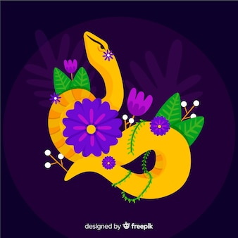 Serpent dessiné à la main avec des fleurs