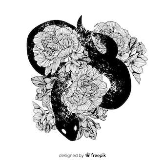 Serpent dessiné à la main fond incolore