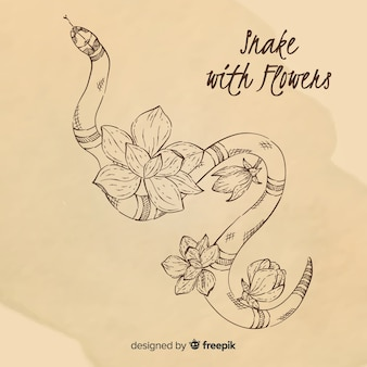 Serpent dessiné main sans couleur avec fond de fleurs