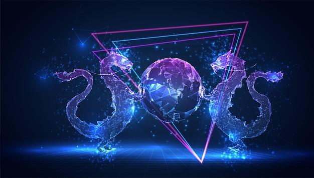 Serpent dragon 3d vectoriel sur fond bleu dans l'espace virtuel