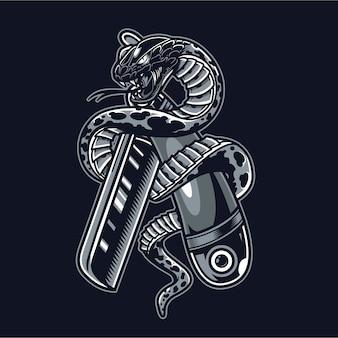 Le serpent est enroulé autour d'un rasoir droit