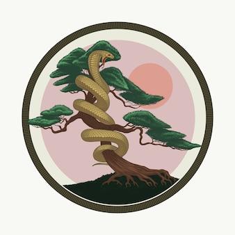Serpent, genévrier, bonsaï, arbre, main, dessin, illustration