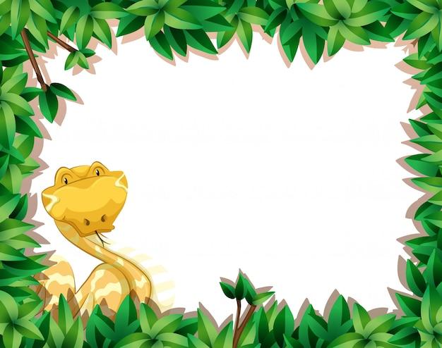 Serpent jaune dans une scène de nature avec fond encadré