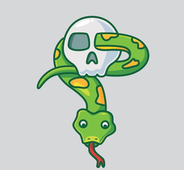 Serpent mignon sur le crâne. illustration d'halloween animal de dessin animé isolé. style plat adapté au vecteur de logo premium sticker icon design. personnage mascotte