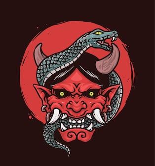 Serpent, monstre, diable japonais