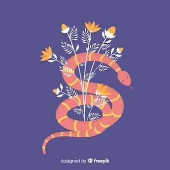 Serpent plat blessé sur fond de fleurs