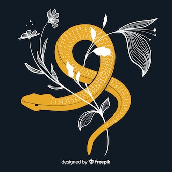 Serpent plat avec fond de feuilles