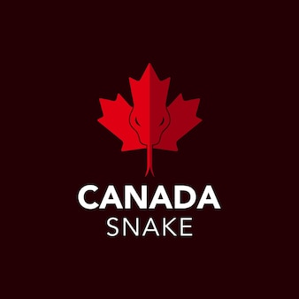 Serpent reptile sauvage d'illustration sur la conception de logo de pays de drapeau de symbole de canada de feuille d'érable