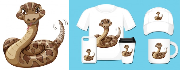 Serpent sauvage sur différents produits