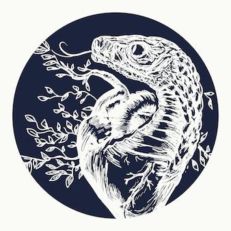 Serpent le tentateur tord le coeur humain