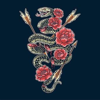 Le serpent venimeux a été coupé en morceaux de l'arc