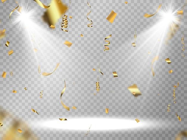 Serpentine d'or et confettis isolés sur fond noir illustration vectorielle