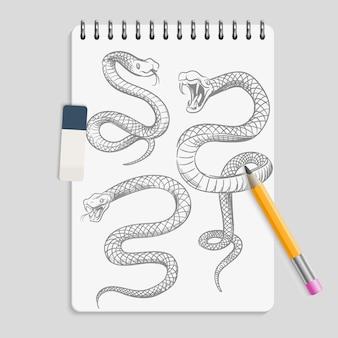 Serpents dessinés à la main sur une page de cahier réaliste avec un crayon et une gomme