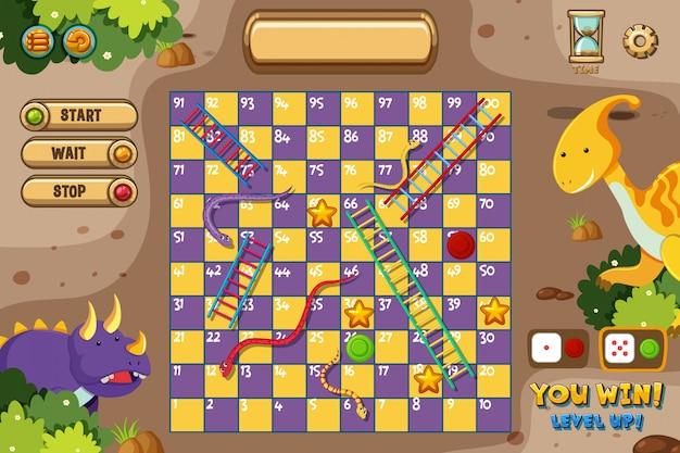 Serpents et échelles de jeu avec deux dinosaures
