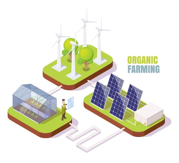 Serre de panneaux solaires d'éoliennes à effet de serre isométriques de ferme biologique utilisant une énergie alternative propre ...