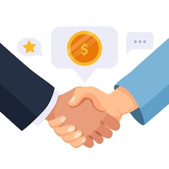 Serrer la main des partenaires commerciaux.