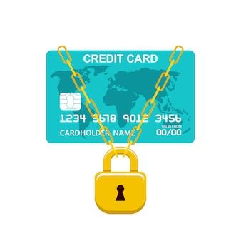 Serrure de carte de paiement. opération bancaire