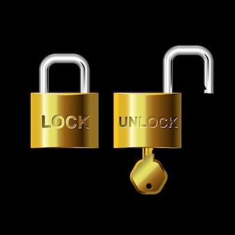 Serrure à clé et déverrouillage or-argent
