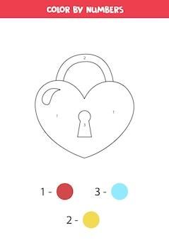 Serrure de valentine de dessin animé mignon couleur en forme de coeur par numéros