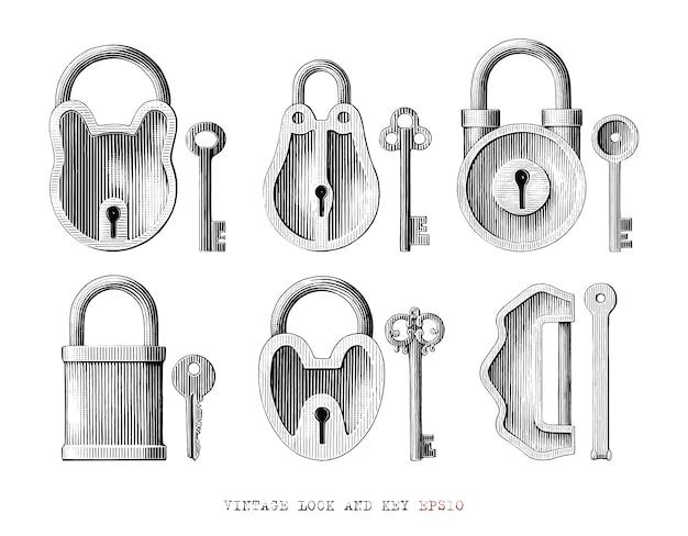 Serrure vintage et collection de clés dessiner à la main style de gravure clipart noir et blanc isolé