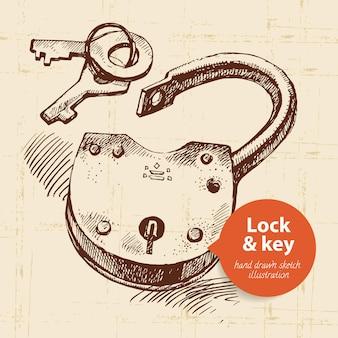 Serrure vintage de croquis dessinés à la main et bannière de clé. illustration vectorielle