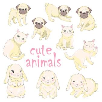 Sertie d'affiche d'animaux mignons.
