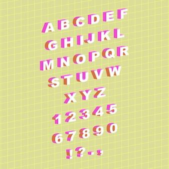 Sertie d'alphabet anglais de style isométrique et de chiffres illustration vectorielle
