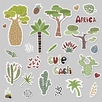Sertie d'arbres africains et de cactus