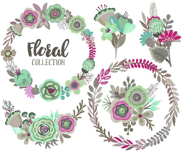 Sertie de belles fleurs, couronne florale, bouquets.