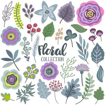Sertie de belles fleurs, feuilles, branches, baies.