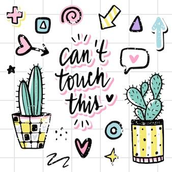 Sertie de cactus, phrases positives, éléments.