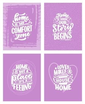 Sertie de citations de lettrage dessinées à la main dans un style de calligraphie moderne sur la maison.