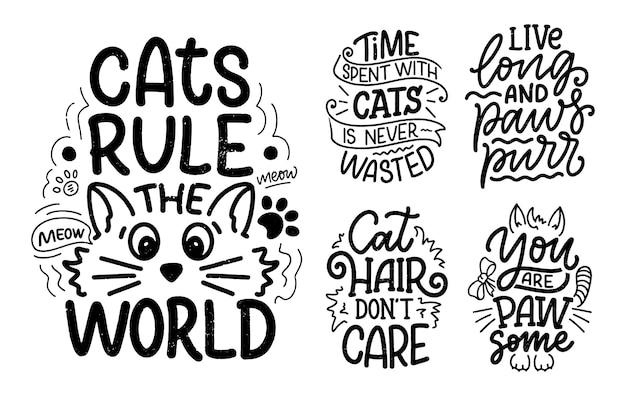 Sertie de citations de lettrage drôles sur les chats à imprimer dans un style dessiné à la main.