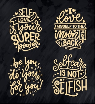 Sertie de citations de lettrage selfcare
