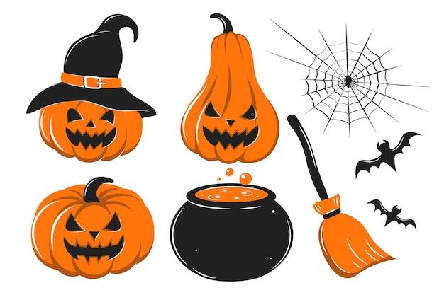 Sertie de citrouilles toiles d'araignée chauve-souris avec une cuve de potion et un balai happy halloween