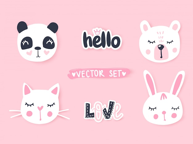 Sertie de dessin animé animaux panda, chat, ours, lapin. animaux adorables et inscriptions.