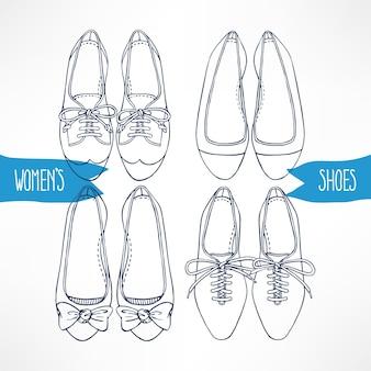 Sertie de différentes chaussures de croquis sur fond blanc - 2