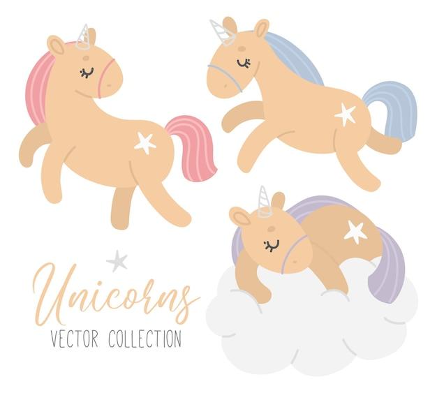 Sertie de différentes licornes mignonnes avec des étoiles et des nuages