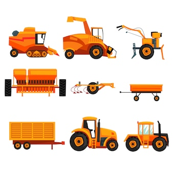 Sertie de différentes machines lourdes utilisées dans l'industrie agricole. véhicule agricole. tracteur, remorque, chenille, moissonneuse-batteuse, équipement de labour. design plat